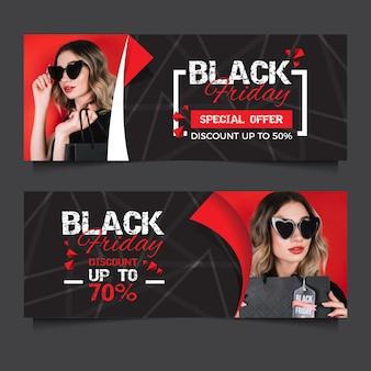 Schwarzer freitag-fahnen des flachen designs mit foto