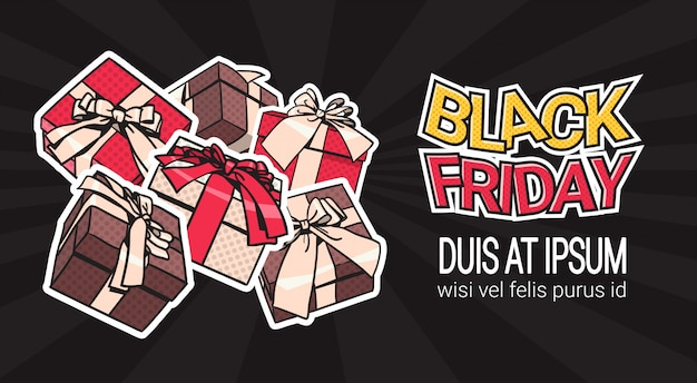 Schwarzer freitag-fahnen-entwurf mit geschenk und geschenkboxen auf hintergrund-einkaufsschablonen-plakat mit c