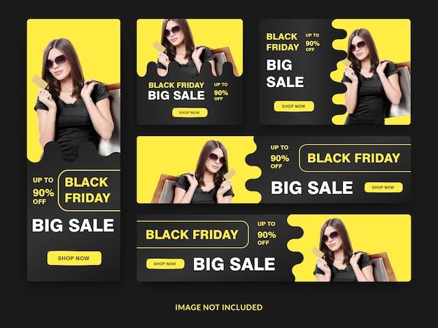 Schwarzer freitag großer verkauf für web-banner-post-vorlage