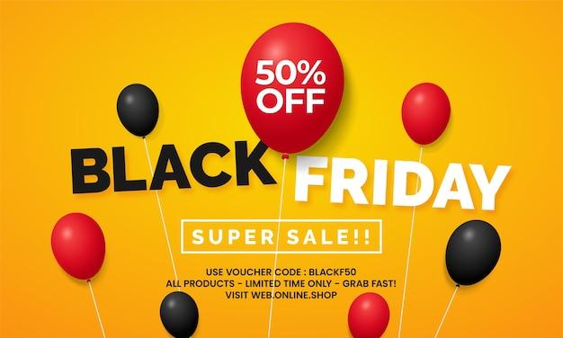 Schwarzer freitag großer verkauf online-shop social media banner promotion vorlage design mit schwebenden ballon