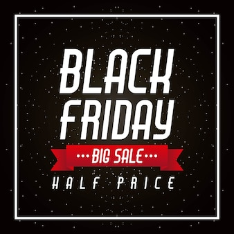 Schwarzer freitag-großer verkauf und halbe preisfahne-plakatfeier