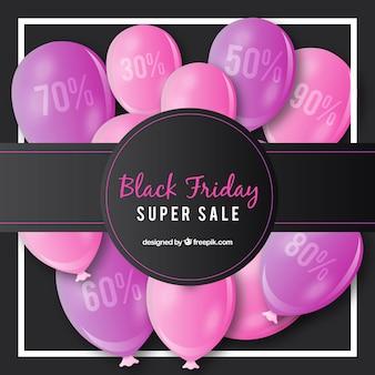 Schwarzer freitag-hintergrund mit rosa ballons