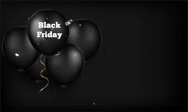 Schwarzer freitag hintergrund. schwarze luftballons auf einem schwarzen. .