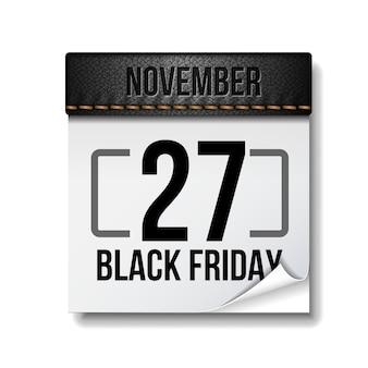 Schwarzer freitag kalender. 27. november. schwarzer freitag 2020. großer verkauf. isoliert auf weißem hintergrund. vorlage für werbeverkauf und rabatt