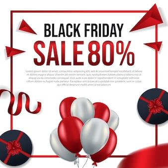 Schwarzer freitag mit roten und weißen luftballons mit verkauf 80%