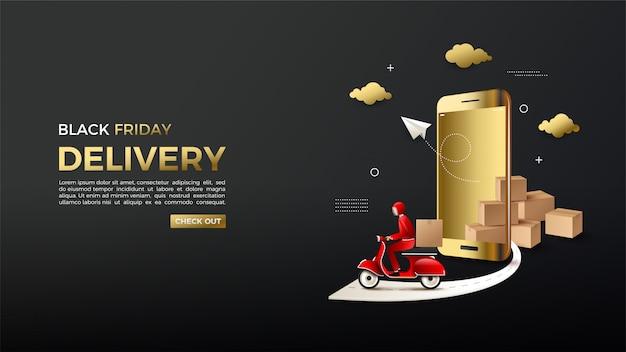 Schwarzer freitag online-shopping mit goldenen smartphones und versendern.