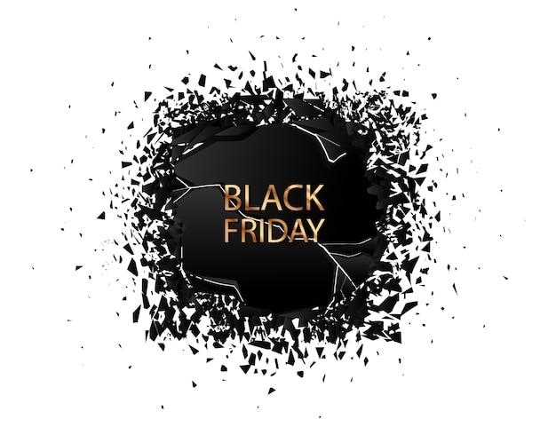 Schwarzer freitag sale mit explosionseffekt auf weiß