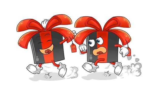 Schwarzer freitag spielen verfolgungsjagdkarikatur. cartoon maskottchen