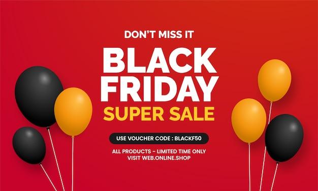 Schwarzer freitag superverkauf mit ballon für social media online-shop banner promotion vorlage design
