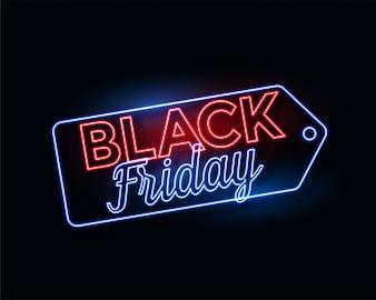 Schwarzer Freitag-Tag in glühenden Neonlichtern