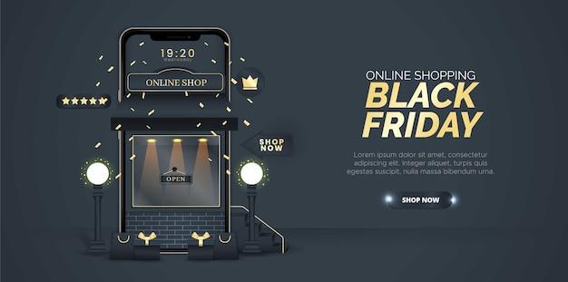 Schwarzer freitag themenorientiertes online-einkaufsdesign auf einem schwarzen hintergrund.