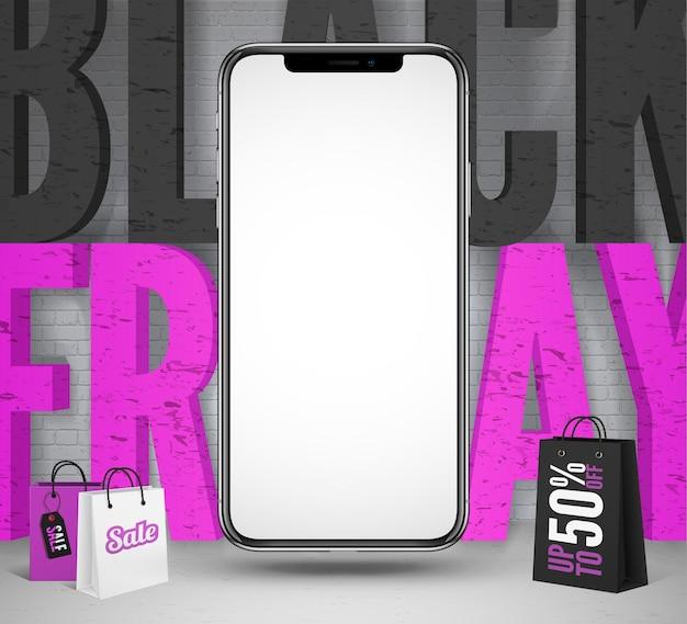 Schwarzer freitag vektor-social-media-banner-vorlage. smartphone-modell mit schwarzer und rosa verkaufsaufschrift. 3d-einkaufstaschen mit preisnachlassangebot. saisonale rabatte werbeplakat-design-layout