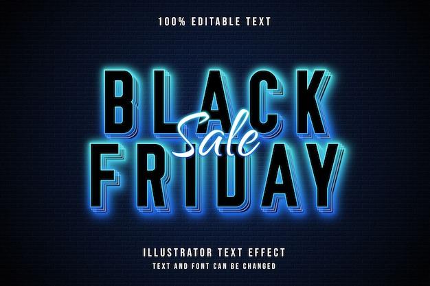 Schwarzer freitag verkauf, 3d bearbeitbarer texteffekt blaue abstufung neon textstil