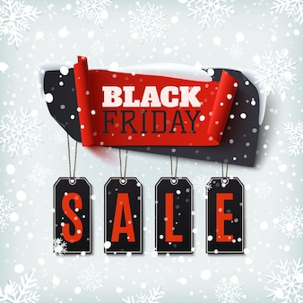 Schwarzer freitag-verkauf, abstraktes banner auf winterhintergrund mit schnee und schneeflocken. vorlage für broschüre, poster oder flyer. illustration.