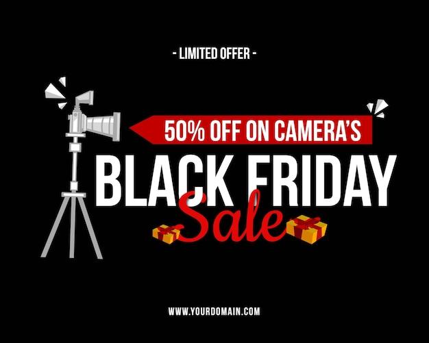Schwarzer freitag-verkauf auf dem banner-design der kamera