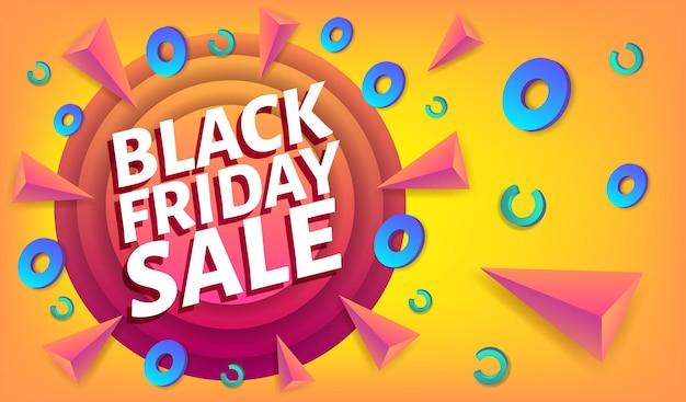 Schwarzer freitag-verkauf, der blaues und weißes web-banner oder plakat, plakatschablone mit bunten abstrakten elementen bewirbt