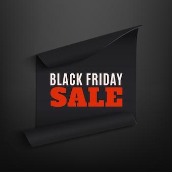 Schwarzer freitag-verkauf, gebogenes papierbanner, auf schwarzem hintergrund.