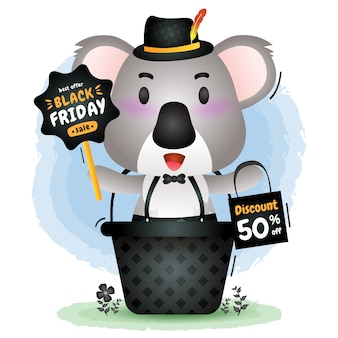 Schwarzer freitag-verkauf mit einem niedlichen koala im korb halten brettwerbung und einkaufstaschenillustration