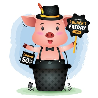 Schwarzer freitag-verkauf mit einem niedlichen schwein im korb halten brettwerbung und einkaufstaschenillustration