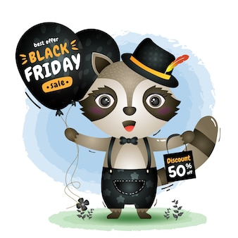 Schwarzer freitag-verkauf mit einem niedlichen waschbären halten ballonförderung und einkaufstaschenillustration