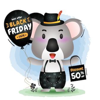 Schwarzer freitag-verkauf mit einer niedlichen koala halten ballonförderung und einkaufstaschenillustration