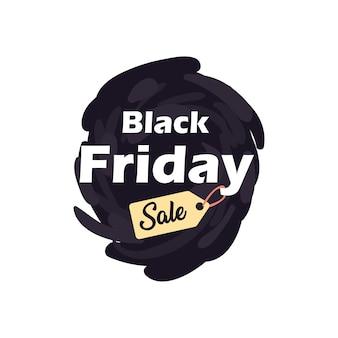 Schwarzer freitag verkauf mit etikett auf pinselstrich flache stilikone design, angebot speichern und einkaufsthema