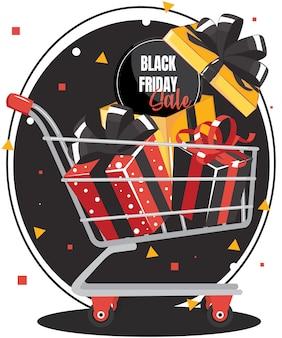 Schwarzer freitag-verkauf mit geschenkbox auf warenkorb. banner design rote geschenkbox mit schwarzer schleife.