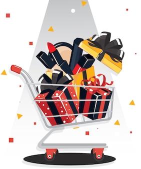 Schwarzer freitag-verkauf mit geschenkbox und make-up-geschenkbox auf warenkorb. banner design rote geschenkbox mit schwarzer schleife.