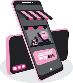 Schwarzer freitag verkauf online-shopping-banner, mobile app-vorlagen, flaches design der konzeptvektorillustration