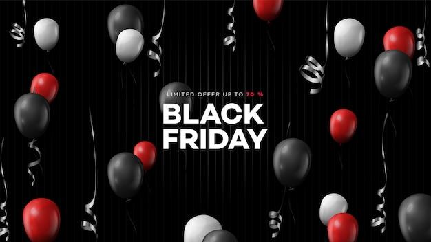 Schwarzer freitag verkauf. realistische hintergrund fliegende ballons. schwarzer freitag banner.