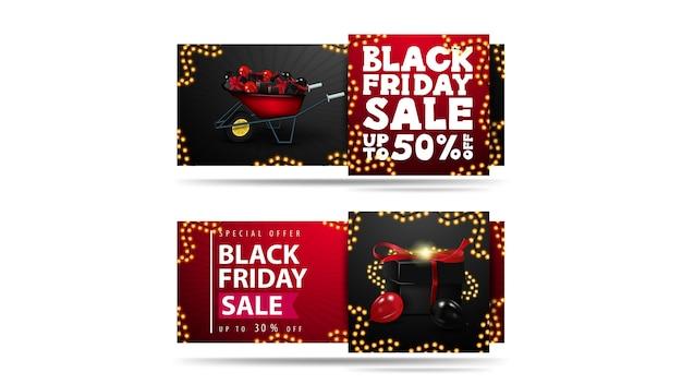 Schwarzer freitag-verkauf, satz von rabattfahnen lokalisiert auf weißem hintergrund. rote und schwarze horizontale banner mit geschenken und schubkarre mit geschenken an black friday