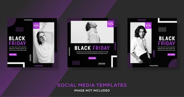 Schwarzer freitag verkauf vorlage banner post mit schwarz und lila.