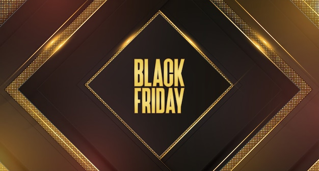 Schwarzer freitag-verkaufs-hintergrund mit abstrakten goldenen goldrahmen 3d