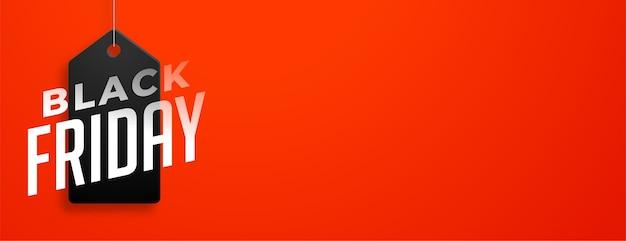 Schwarzer freitag-verkaufsanhänger auf rotem banner