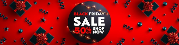 Schwarzer freitag-verkaufsbanner für einzelhandels-, einkaufs- oder verkaufsförderungsschwarz-geschenkbox und weihnachtselement auf dunklem hintergrund. schwarzer freitag-bannerentwurf