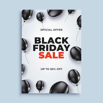 Schwarzer freitag-verkaufsfahnenhintergrund mit baloons plakat