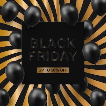 Schwarzer freitag-verkaufsplakat mit glänzenden luftballons auf mit quadratischem rahmen
