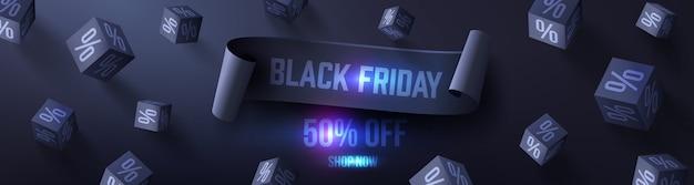 Schwarzer freitag-verkaufsplakat mit schwarzen würfeln 3d auf dunklem hintergrund für einzelhandel, einkaufen oder schwarze freitag-förderung im schwarzen stil. vektorillustration eps10
