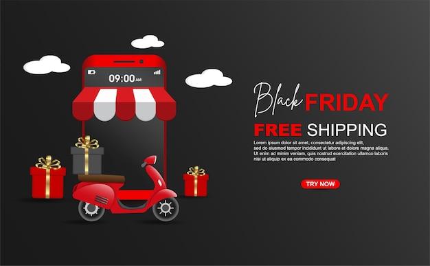 Schwarzer freitag versandkostenfrei paket mit roller auf handy-banner-vorlage.