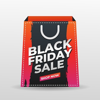 Schwarzer freitaghintergrund mit einkaufstaschenschablone