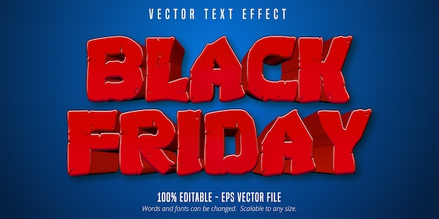 Schwarzer freitagstext, bearbeitbarer texteffekt der karikaturart auf blauem strukturiertem hintergrund