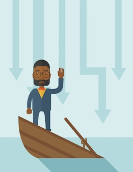 Schwarzer geschäftsmann des ausfalls, der auf einem sinkenden boot steht.