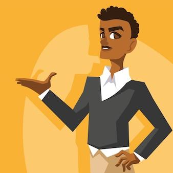 Schwarzer geschäftsmonat mit afro-mann-karikatur der wirtschaftlichen gleichheit und feierthemaillustration