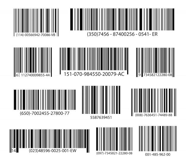 Schwarzer gestreifter code für digitale identifikation, realistische strichcodeikone.