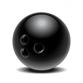 Schwarzer glänzender bowlingball auf weißem hintergrund. illustration