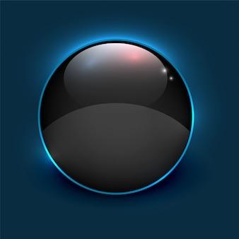 Schwarzer glänzender spiegelkreisrahmen auf blauem hintergrund