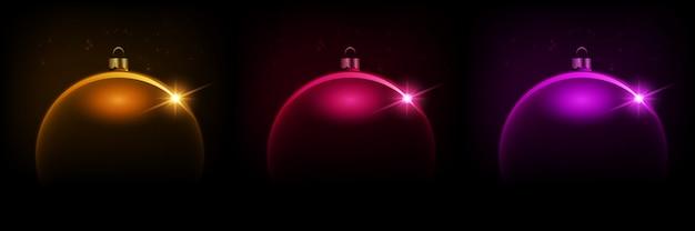 Schwarzer glänzender weihnachtshintergrund mit kugel, illustration.