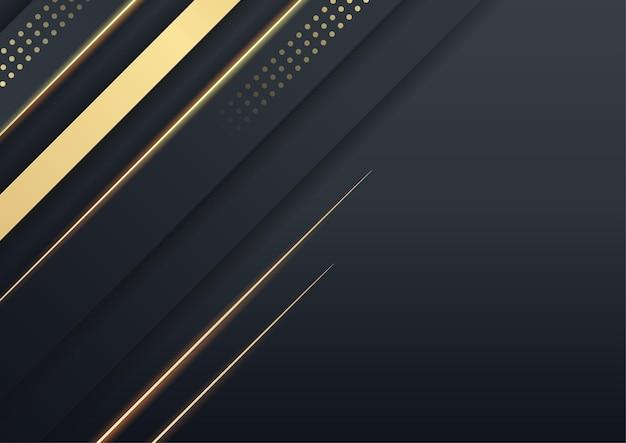 Schwarzer goldhintergrund überlappt dimension abstrakte geometrische moderne. vektor-illustration