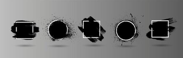 Schwarzer grunge spritzt schablone mit rahmen