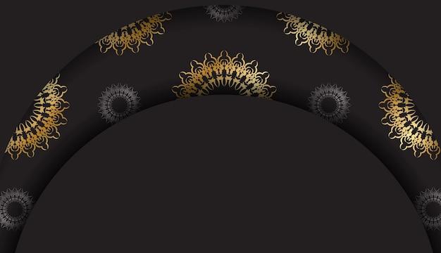 Schwarzer grußflyer mit goldener indischer verzierung
